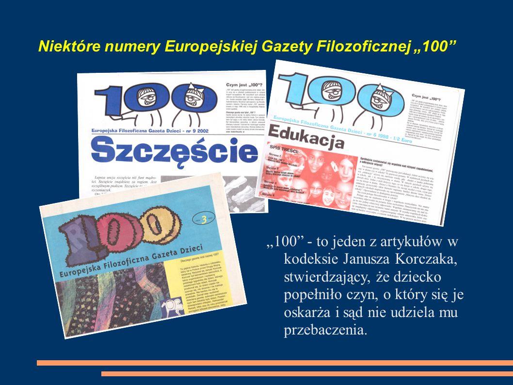 """Niektóre numery Europejskiej Gazety Filozoficznej """"100"""