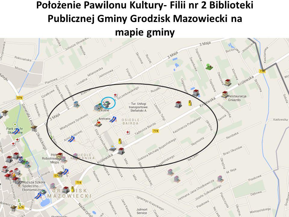 Położenie Pawilonu Kultury- Filii nr 2 Biblioteki Publicznej Gminy Grodzisk Mazowiecki na mapie gminy
