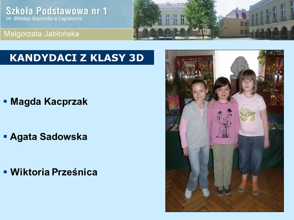 KANDYDACI Z KLASY 3D Magda Kacprzak Agata Sadowska Wiktoria Prześnica