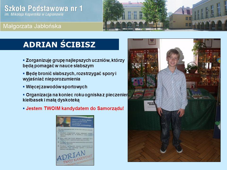 ADRIAN ŚCIBISZ Zorganizuję grupę najlepszych uczniów, którzy będą pomagać w nauce słabszym.