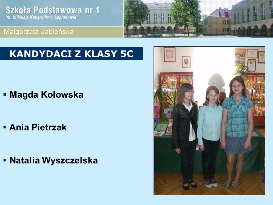 KANDYDACI Z KLASY 5C Magda Kołowska Ania Pietrzak Natalia Wyszczelska