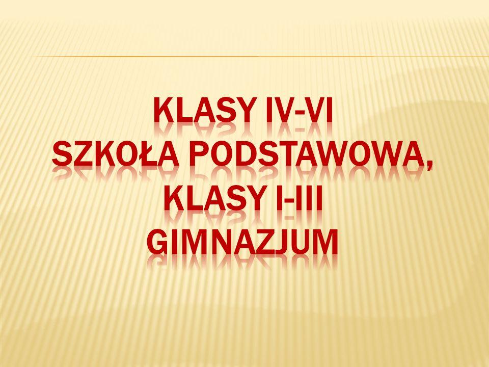 KLASY iv-Vi szkoła podstawowa, klasy i-iii gimnazjum