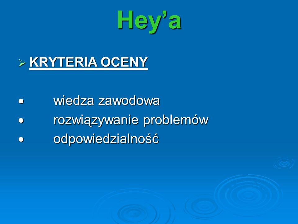 Hey'a KRYTERIA OCENY · wiedza zawodowa · rozwiązywanie problemów