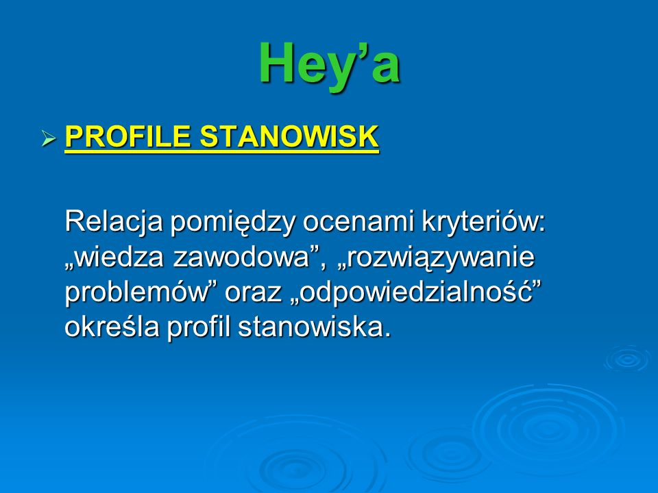 Hey'a PROFILE STANOWISK
