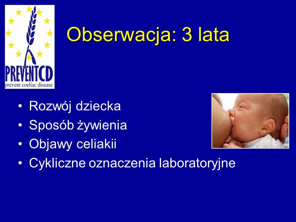 Obserwacja: 3 lata Rozwój dziecka Sposób żywienia Objawy celiakii