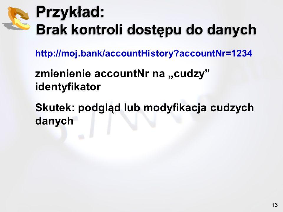 Przykład: Brak kontroli dostępu do danych