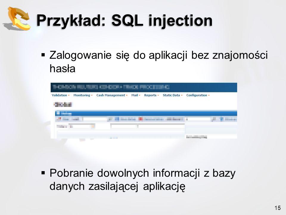Przykład: SQL injection
