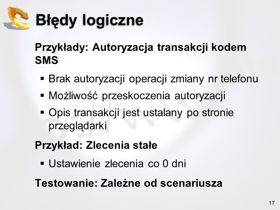 Błędy logiczne Przykłady: Autoryzacja transakcji kodem SMS