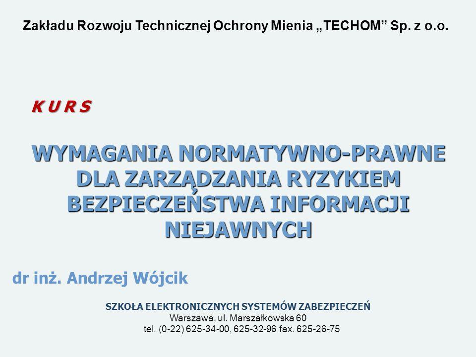 """Zakładu Rozwoju Technicznej Ochrony Mienia """"TECHOM Sp. z o.o."""
