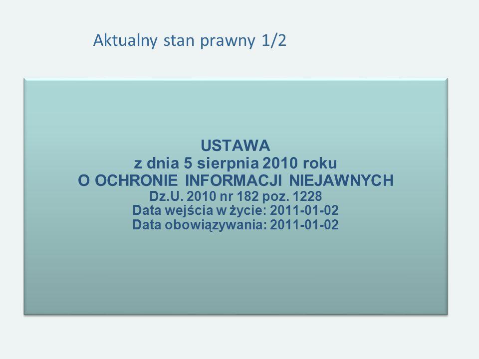 Aktualny stan prawny 1/2 USTAWA z dnia 5 sierpnia 2010 roku