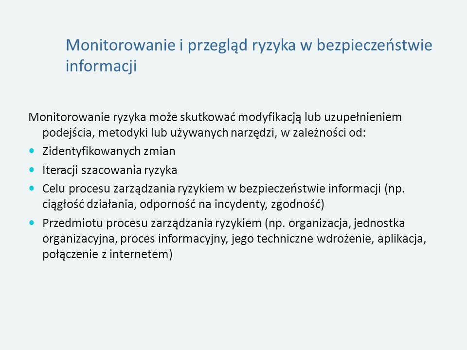 Monitorowanie i przegląd ryzyka w bezpieczeństwie informacji