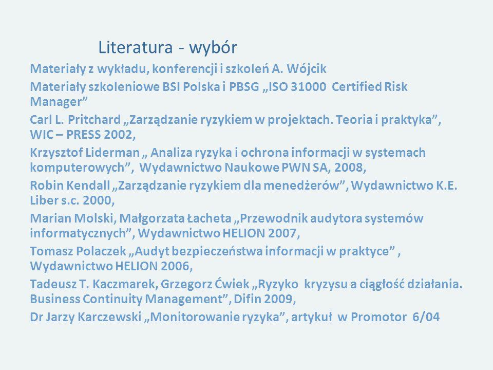 """Literatura - wybór Materiały z wykładu, konferencji i szkoleń A. Wójcik. Materiały szkoleniowe BSI Polska i PBSG """"ISO 31000 Certified Risk Manager"""