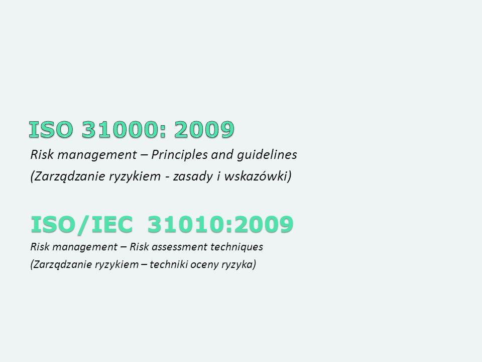 ISO 31000: 2009 Risk management – Principles and guidelines. (Zarządzanie ryzykiem - zasady i wskazówki)