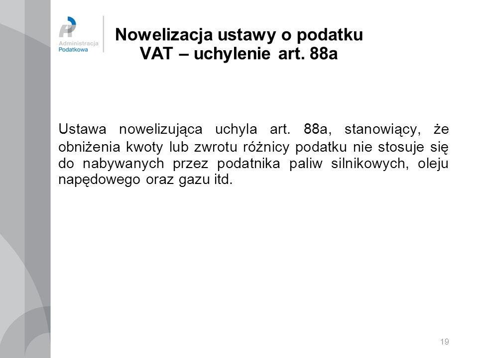 Nowelizacja ustawy o podatku VAT – uchylenie art. 88a