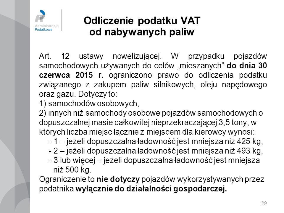 Odliczenie podatku VAT od nabywanych paliw