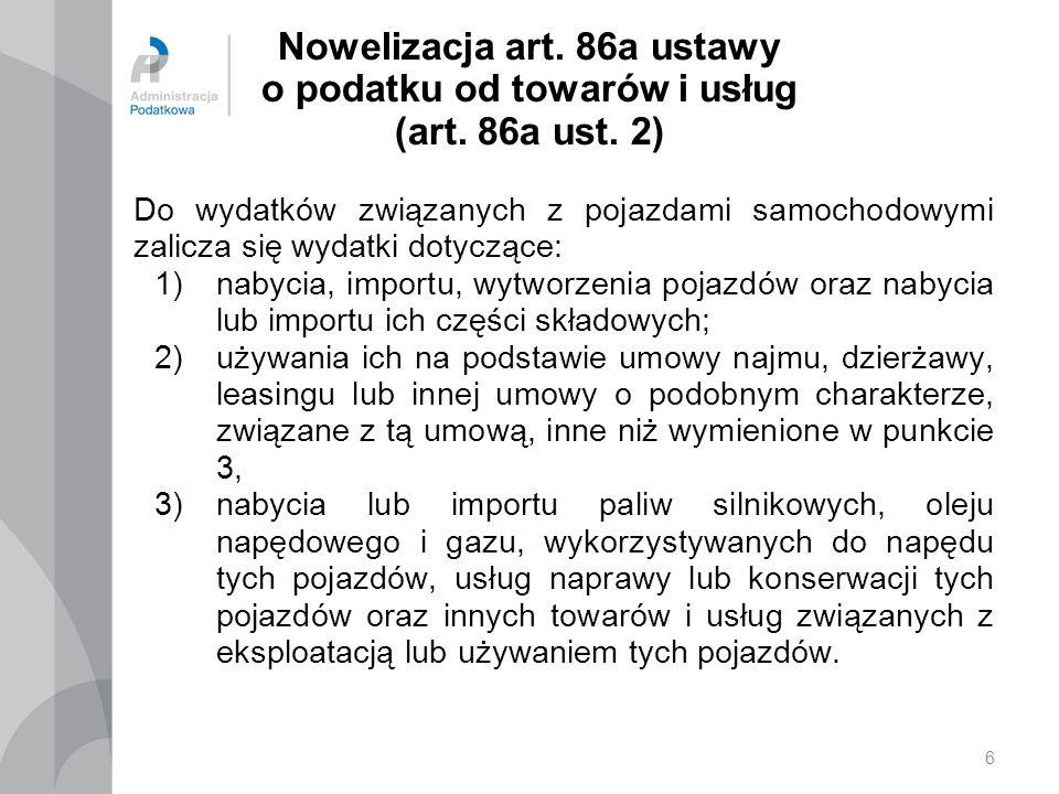 Nowelizacja art. 86a ustawy o podatku od towarów i usług (art. 86a ust