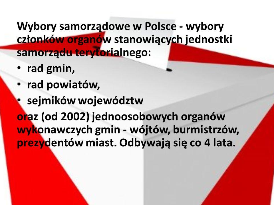 Wybory samorządowe w Polsce - wybory członków organów stanowiących jednostki samorządu terytorialnego: