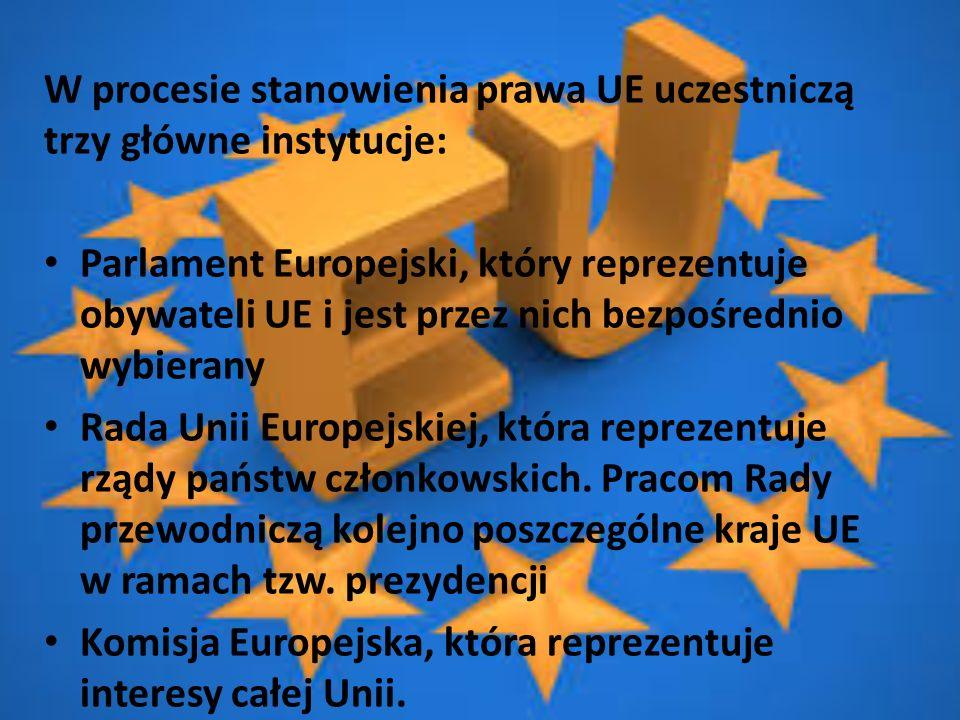 W procesie stanowienia prawa UE uczestniczą trzy główne instytucje: