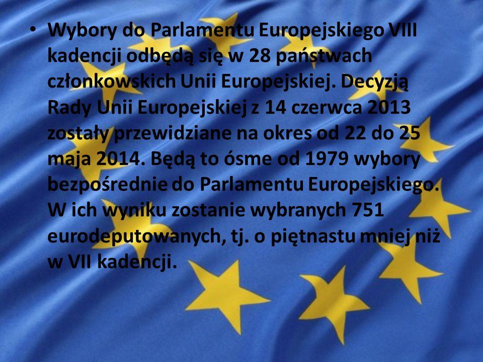 Wybory do Parlamentu Europejskiego VIII kadencji odbędą się w 28 państwach członkowskich Unii Europejskiej.