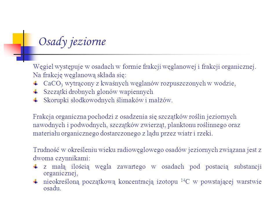 Osady jeziorne Węgiel występuje w osadach w formie frakcji węglanowej i frakcji organicznej. Na frakcję węglanową składa się: