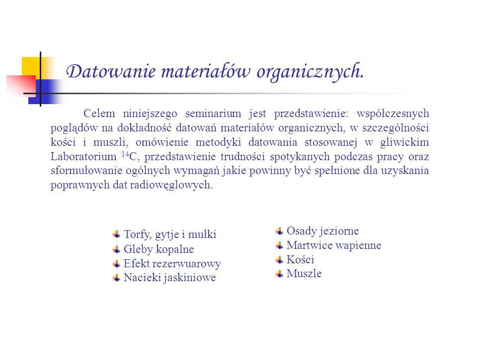 Datowanie materiałów organicznych.