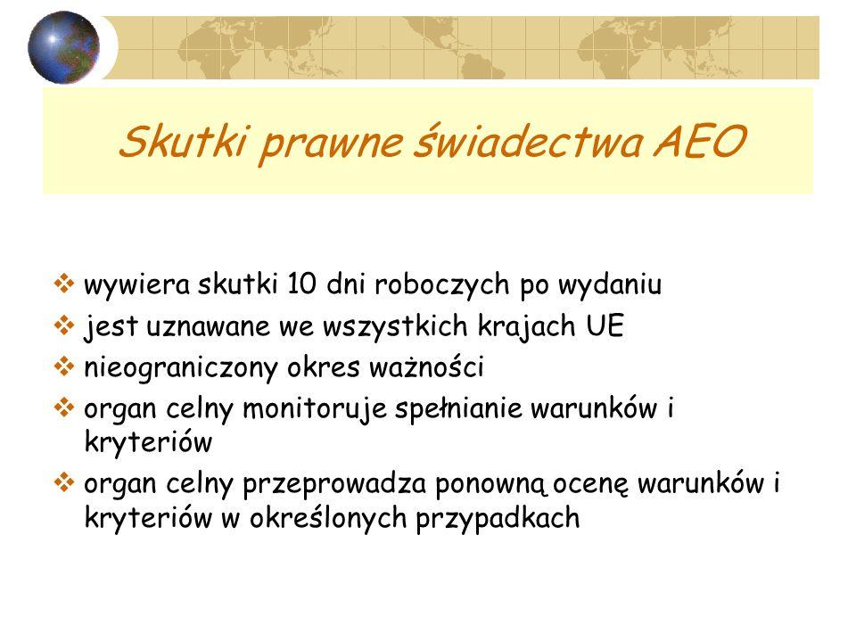 Skutki prawne świadectwa AEO