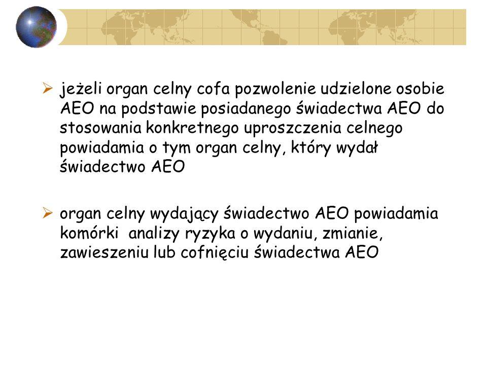 jeżeli organ celny cofa pozwolenie udzielone osobie AEO na podstawie posiadanego świadectwa AEO do stosowania konkretnego uproszczenia celnego powiadamia o tym organ celny, który wydał świadectwo AEO