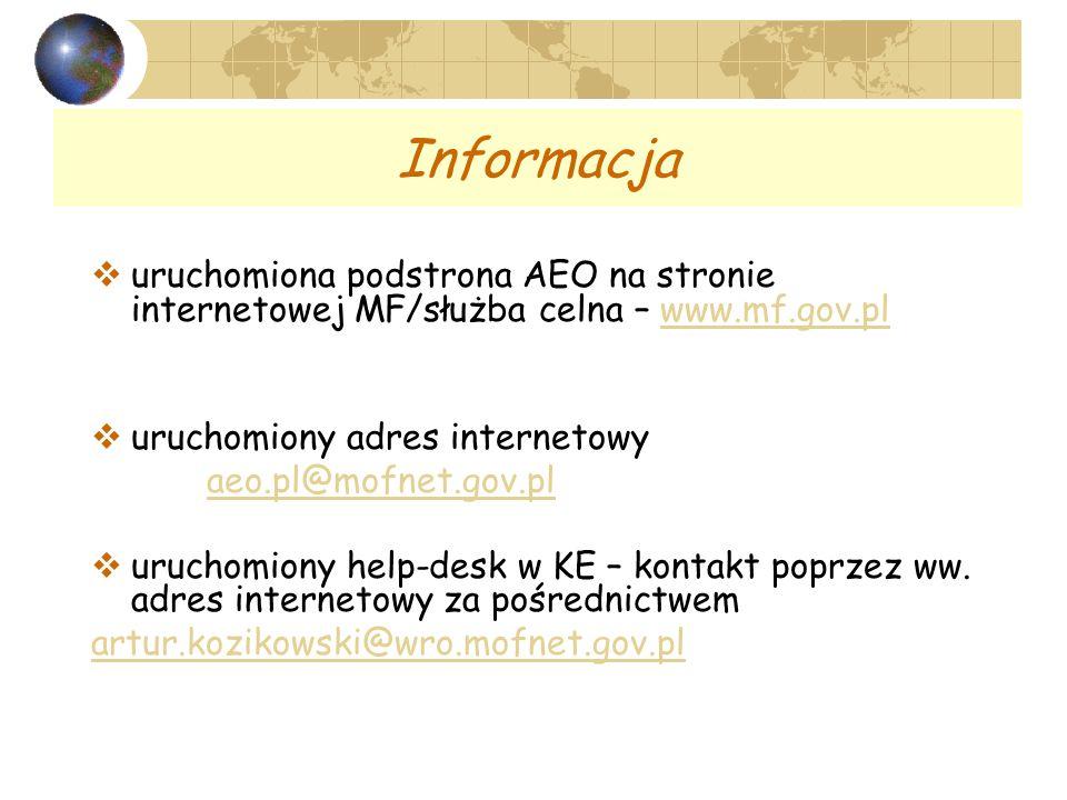 Informacja uruchomiona podstrona AEO na stronie internetowej MF/służba celna – www.mf.gov.pl. uruchomiony adres internetowy.