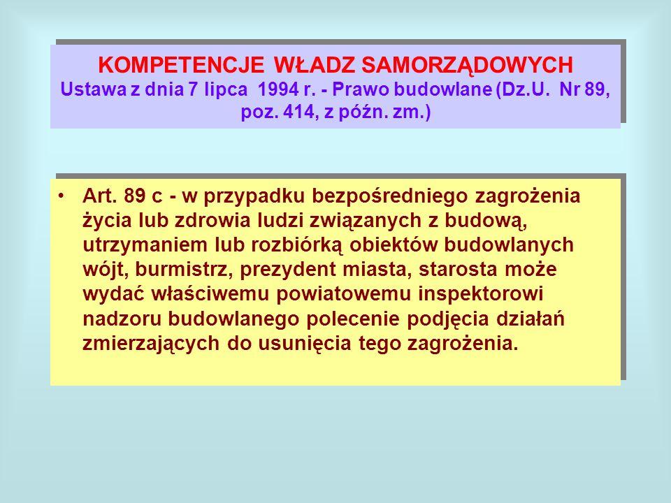 KOMPETENCJE WŁADZ SAMORZĄDOWYCH Ustawa z dnia 7 lipca 1994 r