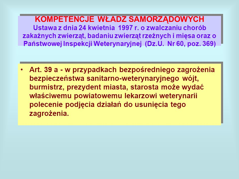 KOMPETENCJE WŁADZ SAMORZĄDOWYCH Ustawa z dnia 24 kwietnia 1997 r