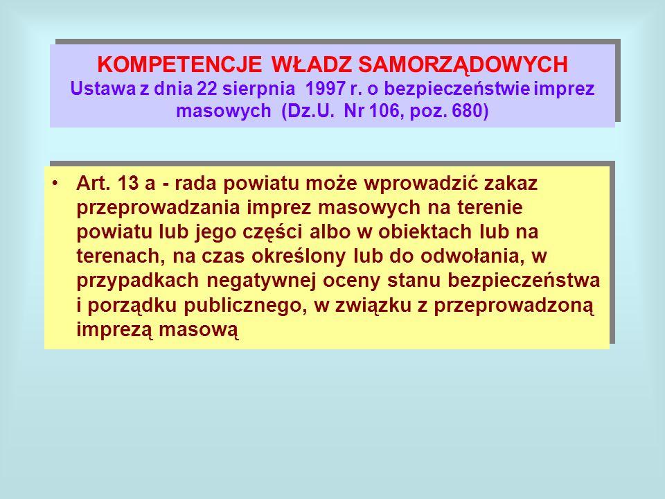KOMPETENCJE WŁADZ SAMORZĄDOWYCH Ustawa z dnia 22 sierpnia 1997 r