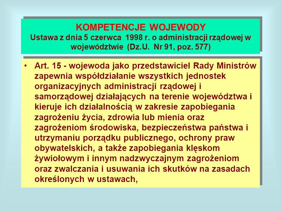 KOMPETENCJE WOJEWODY Ustawa z dnia 5 czerwca 1998 r
