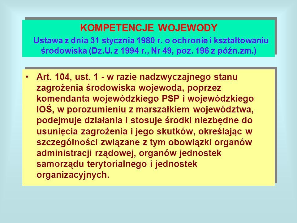 KOMPETENCJE WOJEWODY Ustawa z dnia 31 stycznia 1980 r