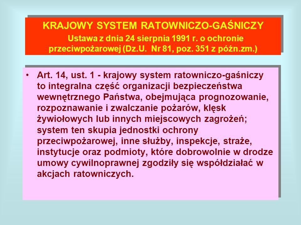 KRAJOWY SYSTEM RATOWNICZO-GAŚNICZY Ustawa z dnia 24 sierpnia 1991 r
