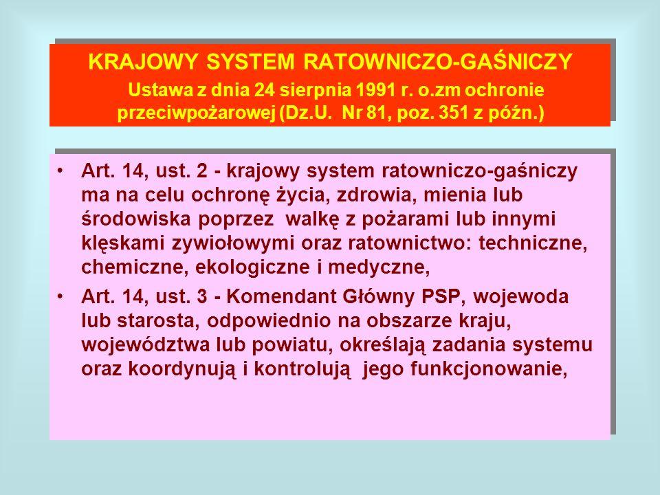 KRAJOWY SYSTEM RATOWNICZO-GAŚNICZY Ustawa z dnia 24 sierpnia 1991 r. o