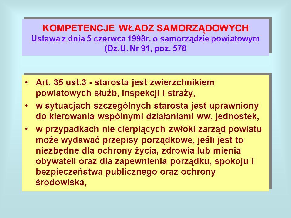 KOMPETENCJE WŁADZ SAMORZĄDOWYCH Ustawa z dnia 5 czerwca 1998r