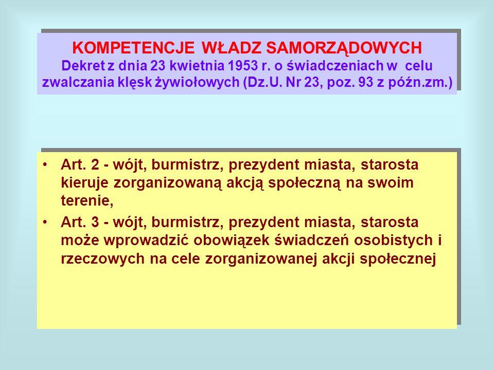 KOMPETENCJE WŁADZ SAMORZĄDOWYCH Dekret z dnia 23 kwietnia 1953 r