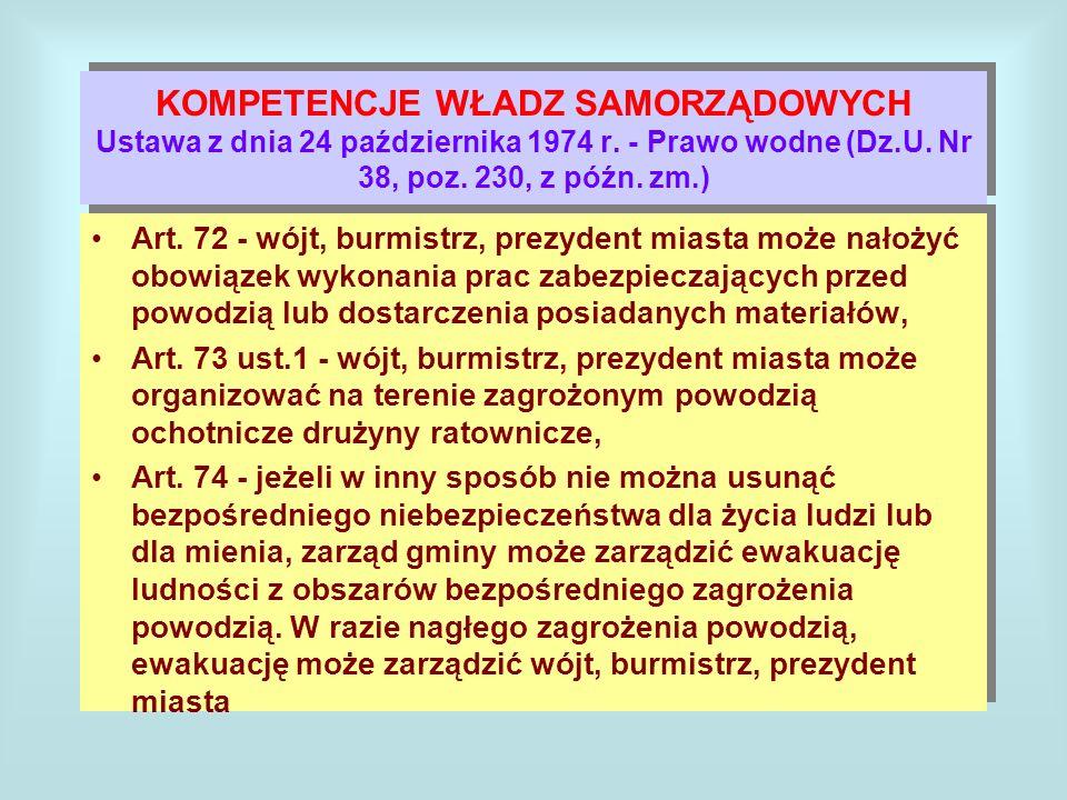 KOMPETENCJE WŁADZ SAMORZĄDOWYCH Ustawa z dnia 24 października 1974 r