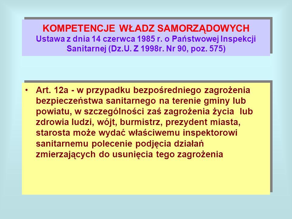 KOMPETENCJE WŁADZ SAMORZĄDOWYCH Ustawa z dnia 14 czerwca 1985 r