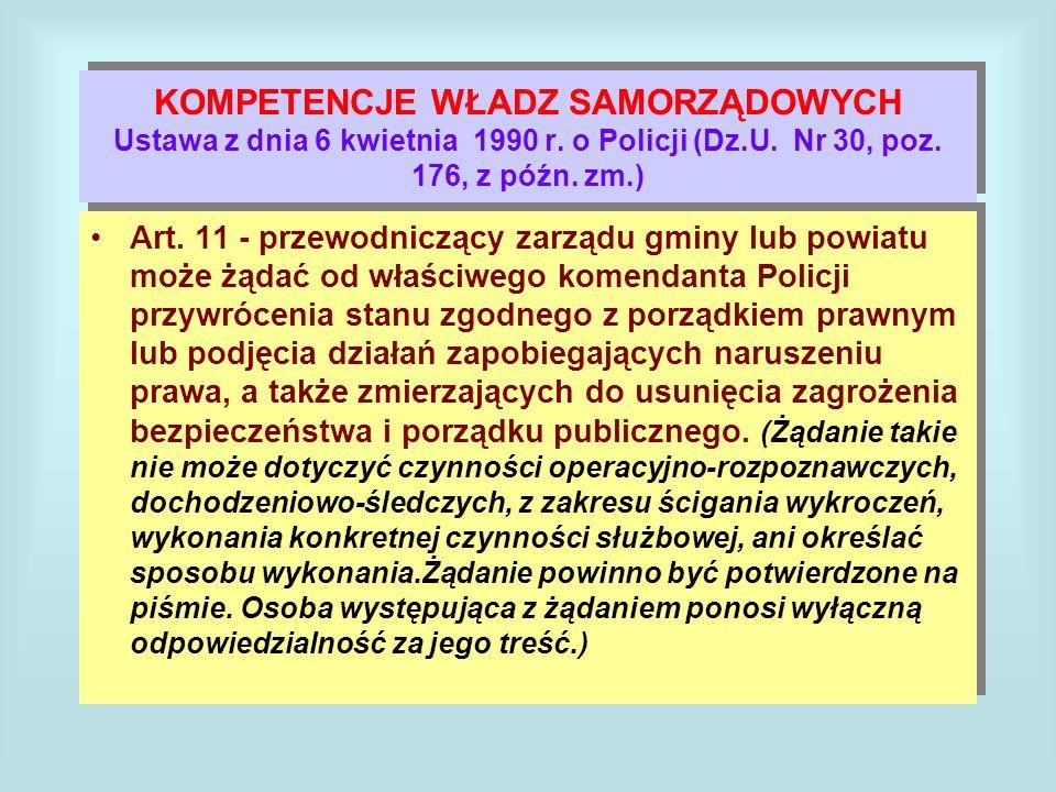 KOMPETENCJE WŁADZ SAMORZĄDOWYCH Ustawa z dnia 6 kwietnia 1990 r