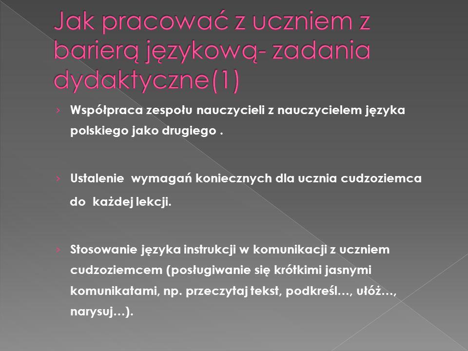 Jak pracować z uczniem z barierą językową- zadania dydaktyczne(1)