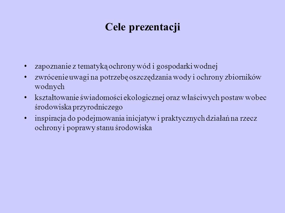 Cele prezentacji zapoznanie z tematyką ochrony wód i gospodarki wodnej