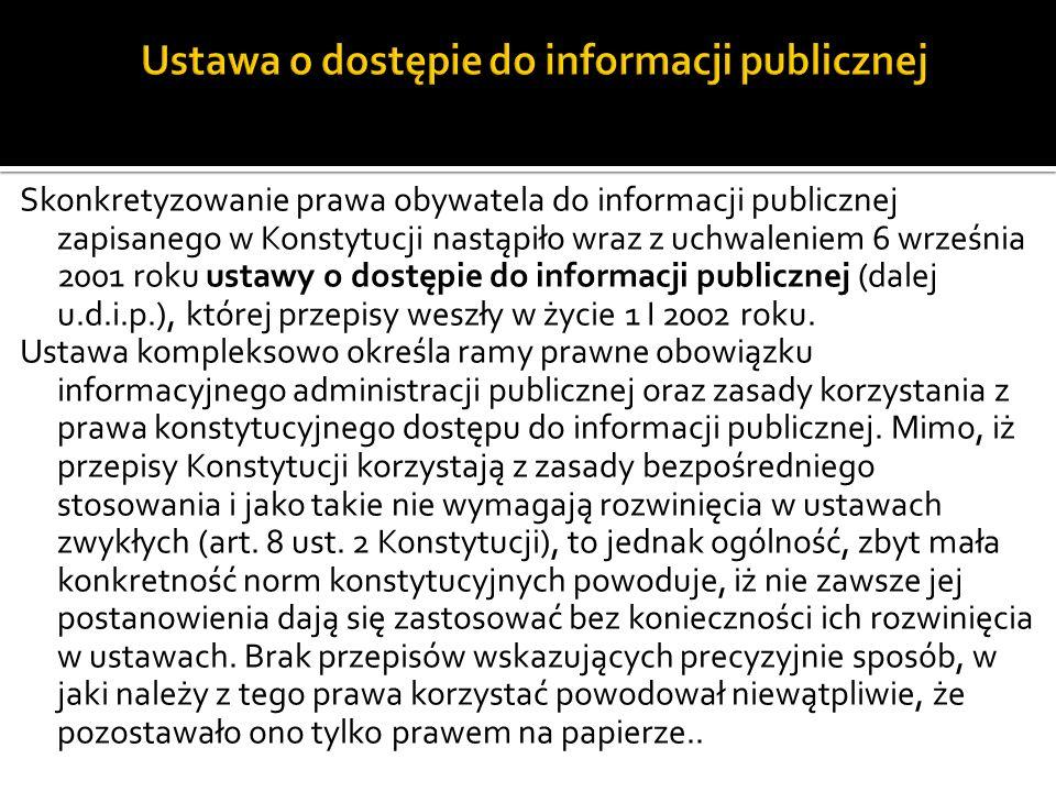 Ustawa o dostępie do informacji publicznej