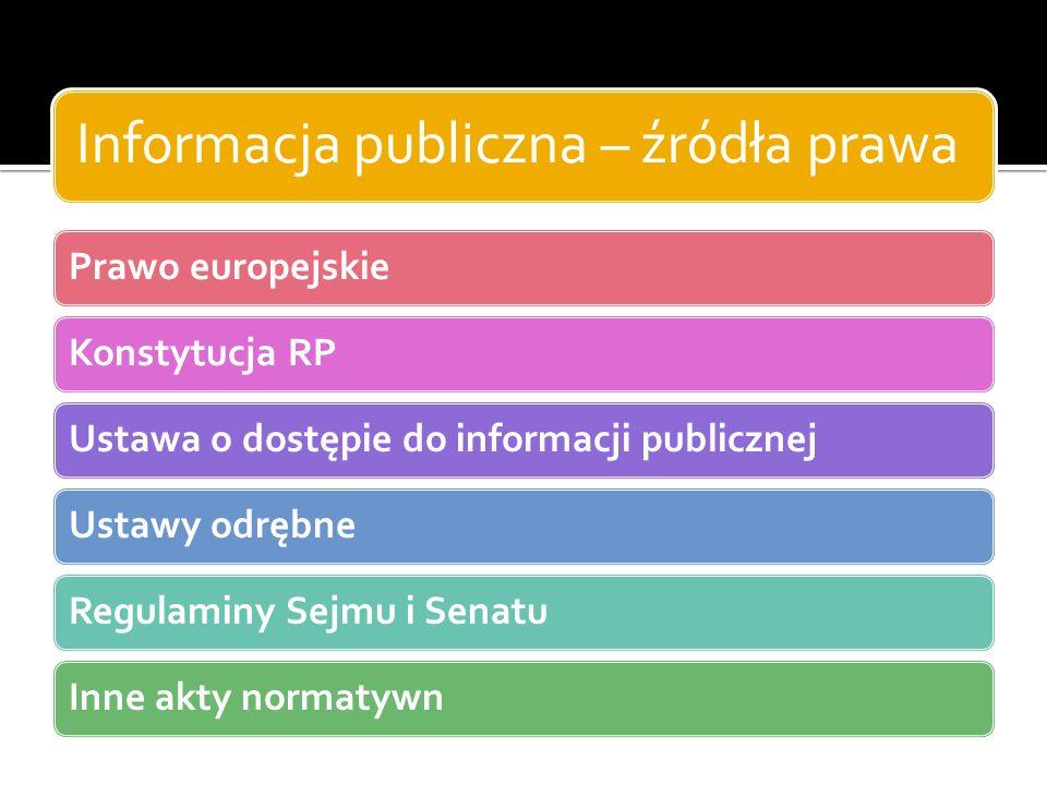 Informacja publiczna – źródła prawa