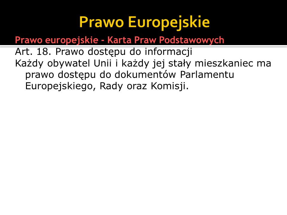 Prawo Europejskie Prawo europejskie - Karta Praw Podstawowych