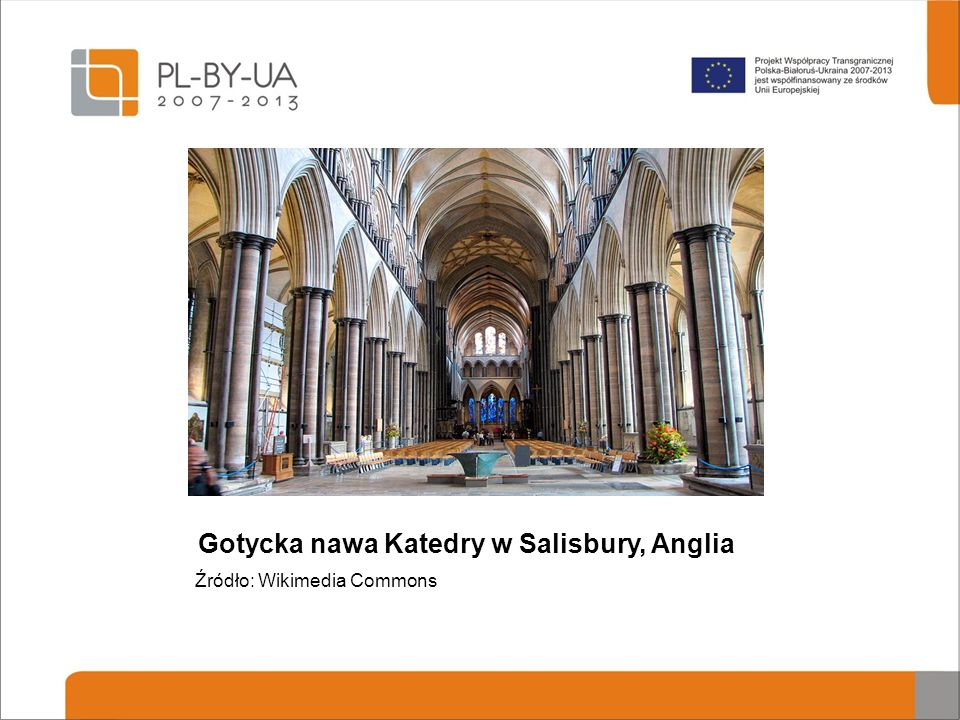 Gotycka nawa Katedry w Salisbury, Anglia