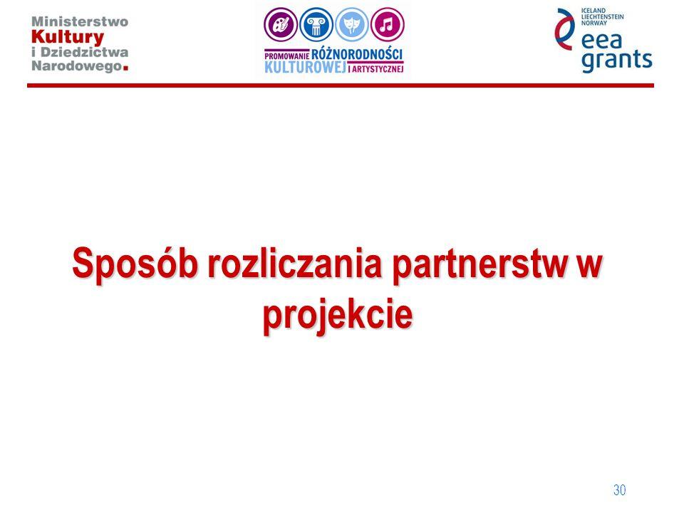 Sposób rozliczania partnerstw w projekcie