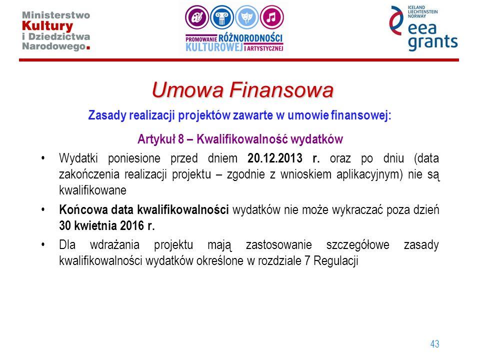Umowa Finansowa Zasady realizacji projektów zawarte w umowie finansowej: Artykuł 8 – Kwalifikowalność wydatków.
