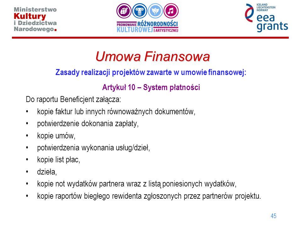 Umowa Finansowa Zasady realizacji projektów zawarte w umowie finansowej: Artykuł 10 – System płatności.