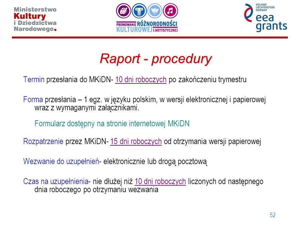 Raport - procedury Termin przesłania do MKiDN- 10 dni roboczych po zakończeniu trymestru.